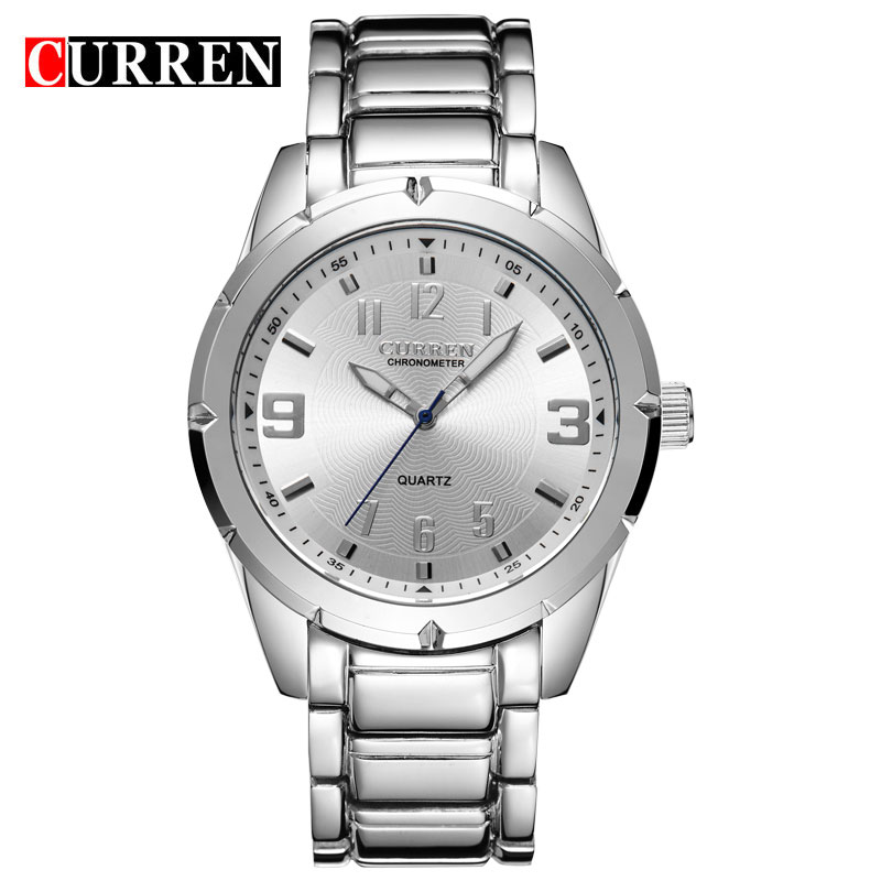 CURREN Business Quartz Watch With Silver Markers Steel Men Casual Watch 8037