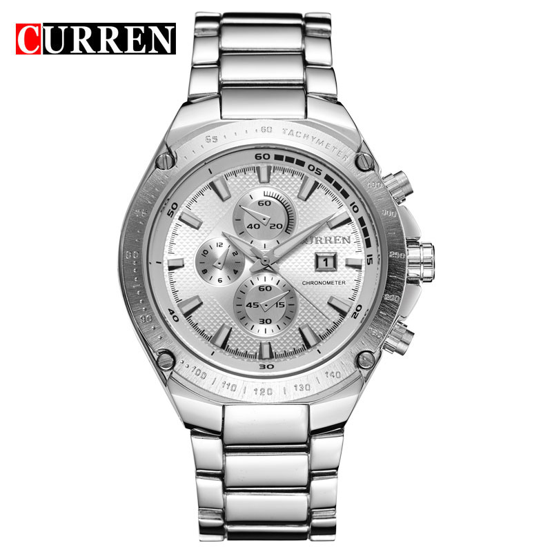 CURREN Casual Watch With Full Steel Quartz Date Men Watch 8042