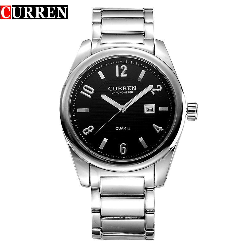 CURREN Casual Watch With Quartz Simple Dial Date Full Steel Men Watch 8048