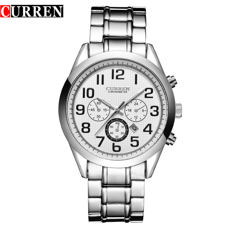 CURREN Men Watch With Quartz Date Arabic Numbers Steel Casual Watch 8050