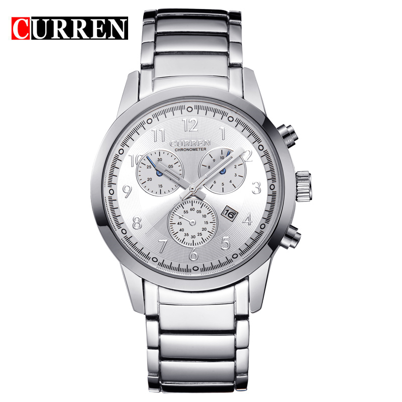 CURREN Quartz Watch With Date Arabic Numbers Steel Casual Men Watch 8051