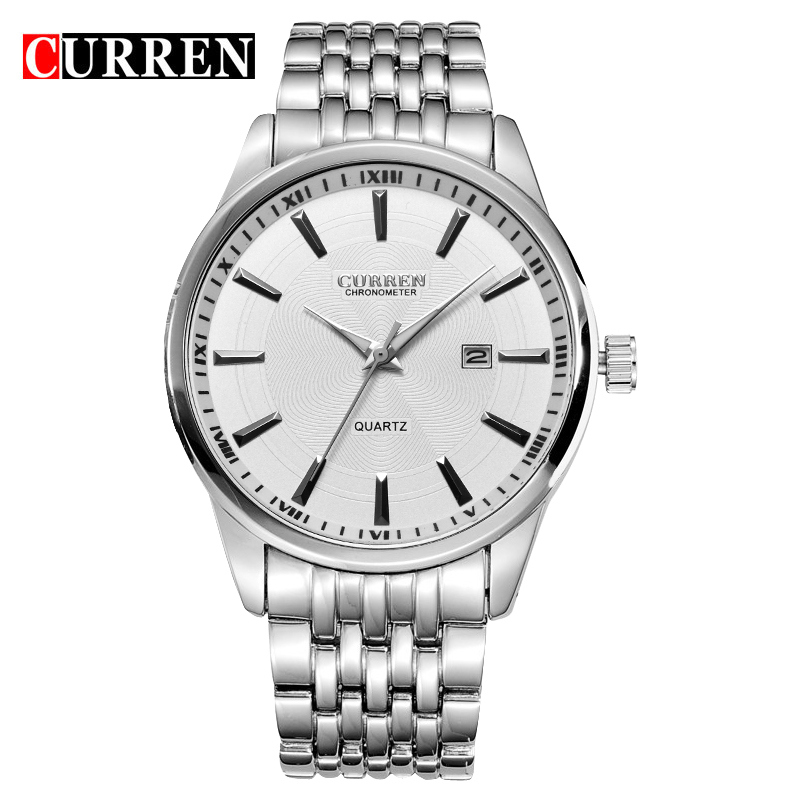 CURREN Quartz Watch With Date Stick Markers Steel Casual Men Watch 8052