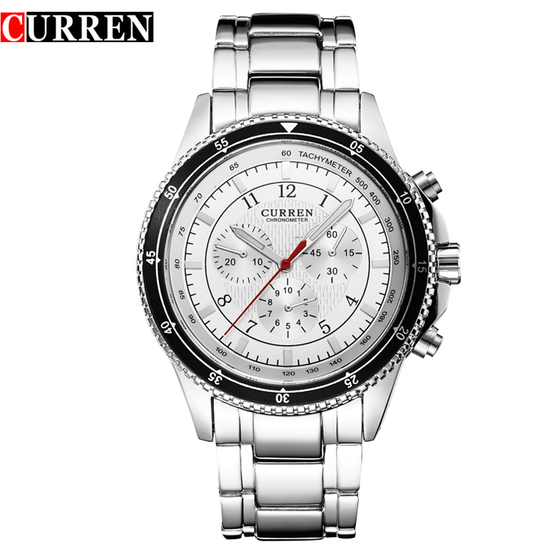 CURREN Casual Men Watch With Black Bezel Steel Bracelet Quartz Watch 8055