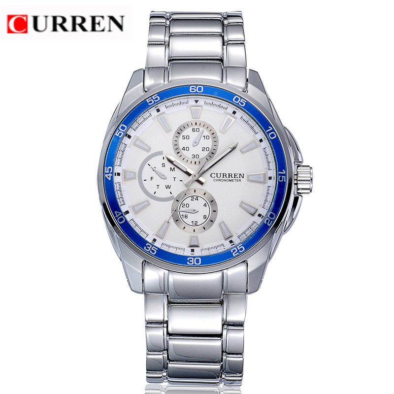 CURREN Chronometer Casual Watch With Quartz Full Steel Men Watch 8076