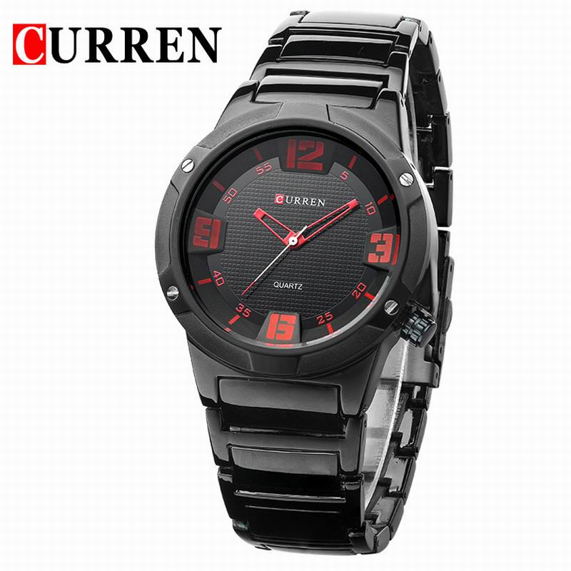 CURREN Casual Watch With Quartz Black PVD Big Dial Men Watch 8111