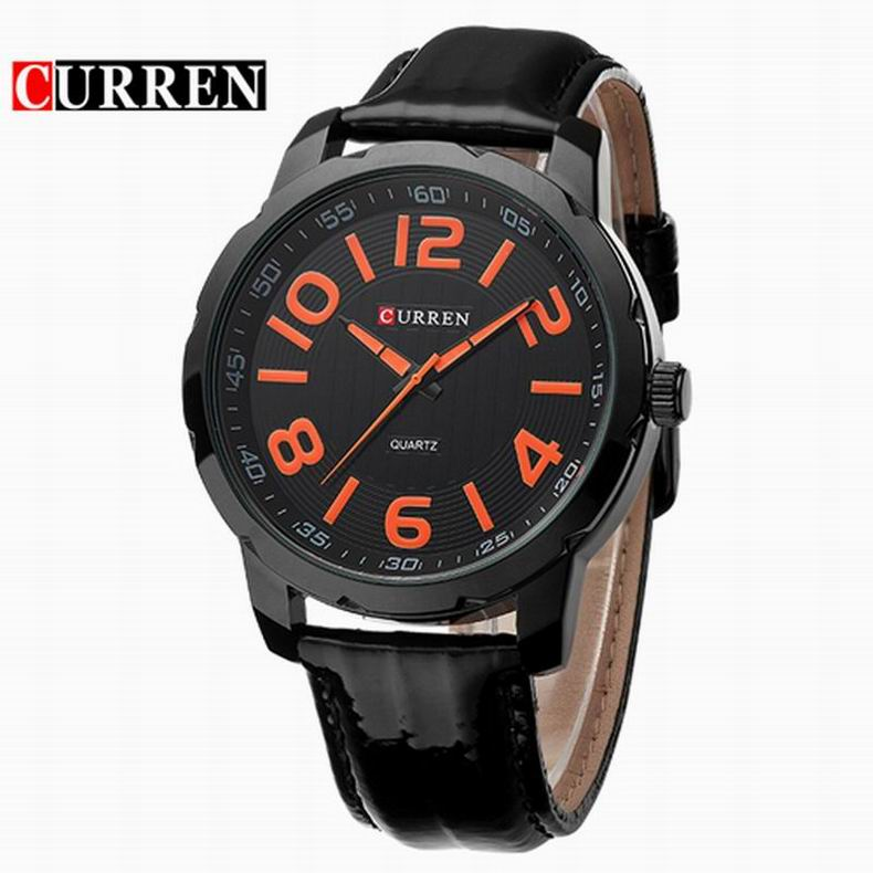 CURREN Casual Watch With Quartz Arabic Numeral Markers Leather Men Watch 8115