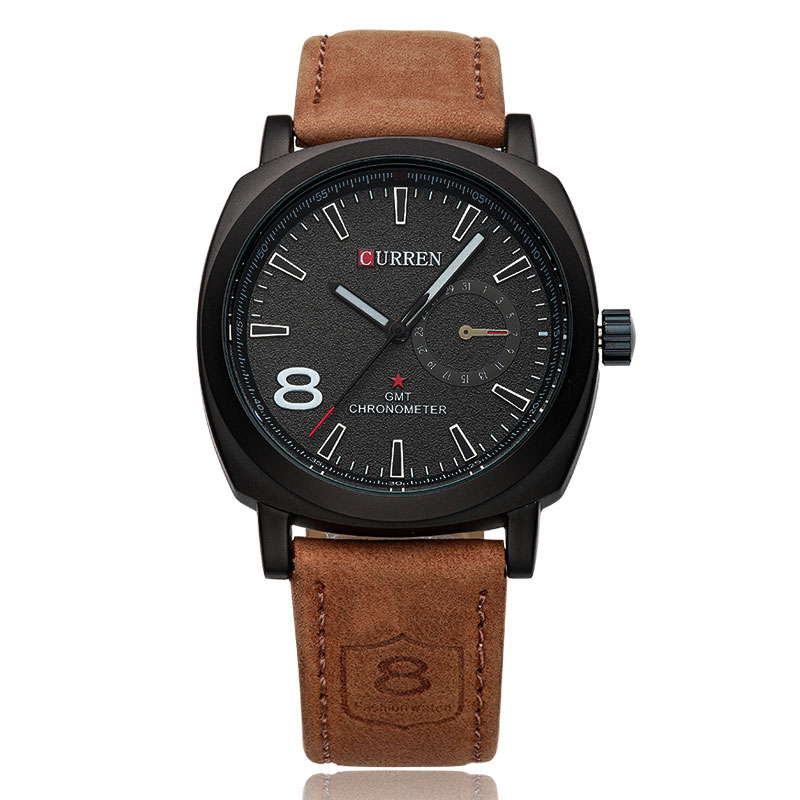 CURREN Quartz Men Watch With Frosted Dial Luminous Casual Leather Watch 8139