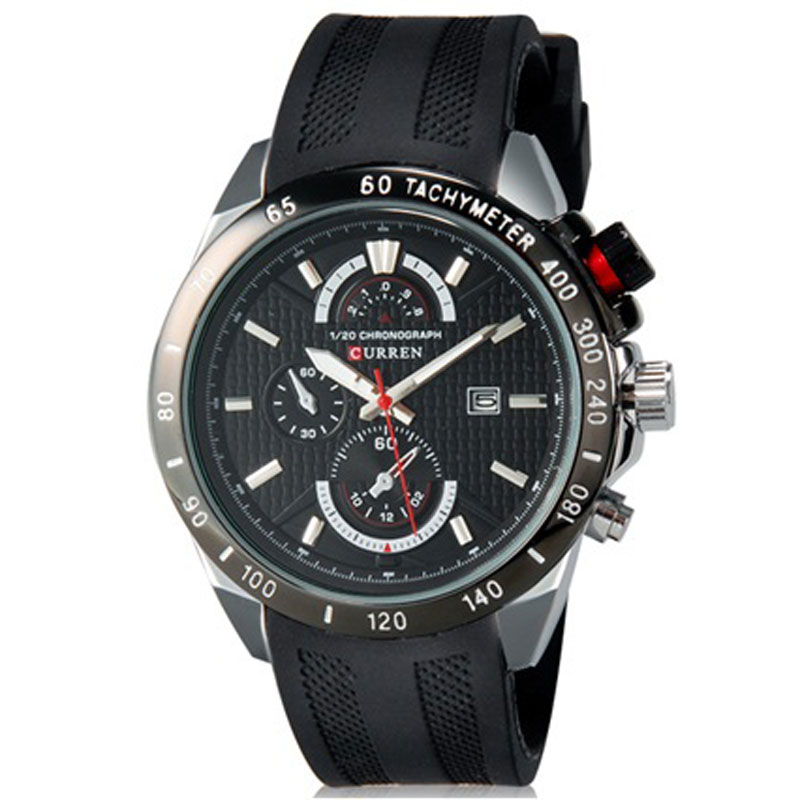 CURREN Business Quartz Watch With Date Rubber Strap Men Watch 8148R