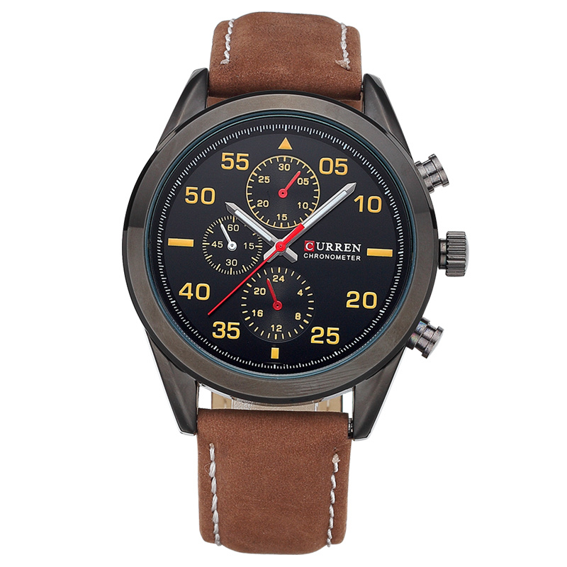 CURREN Casual Men Watch With Frosted Leather Strap Quartz Watch 8156