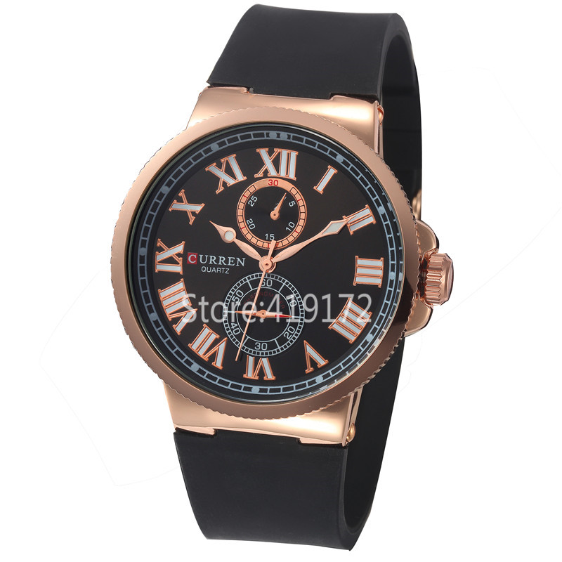 CURREN Casual Men Watch Roman Numeral Markers Rubber Strap Quartz Watch 8160