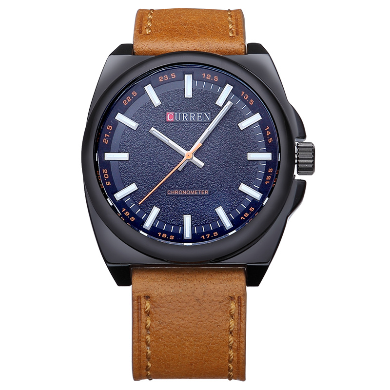 CURREN Men Watch Stick Markers Leather Strap Quartz Casual Watch 8168