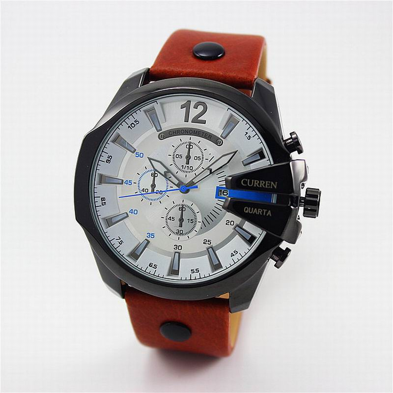CURREN Men Watch With Big Dial Date Leather Strap Quartz Casual Watch 8176