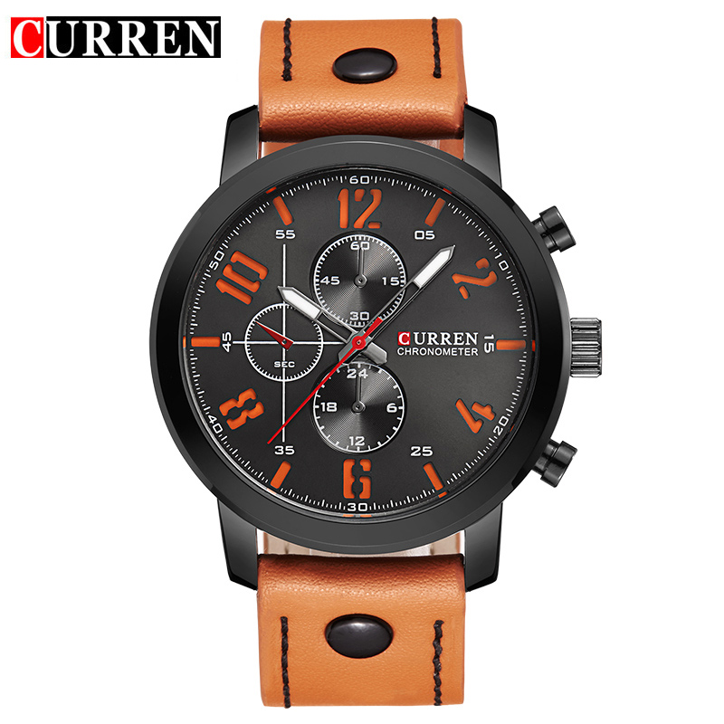 CURREN Business Men Watch With Leather Strap Quartz Casual Watch 8192