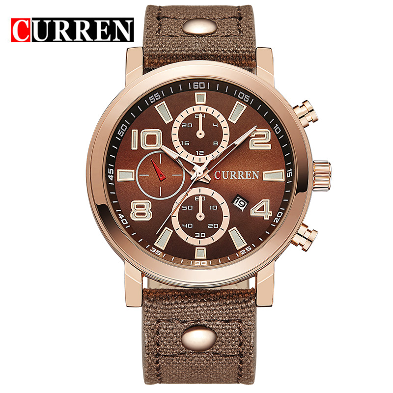 CURREN Men Watch With Leather Strap Date Quartz Casual Watch 8199