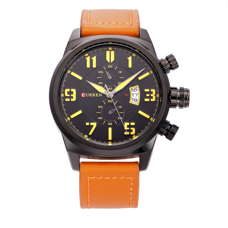 CURREN Casual Quartz Watch With Leather Strap Date Men Watch 8200