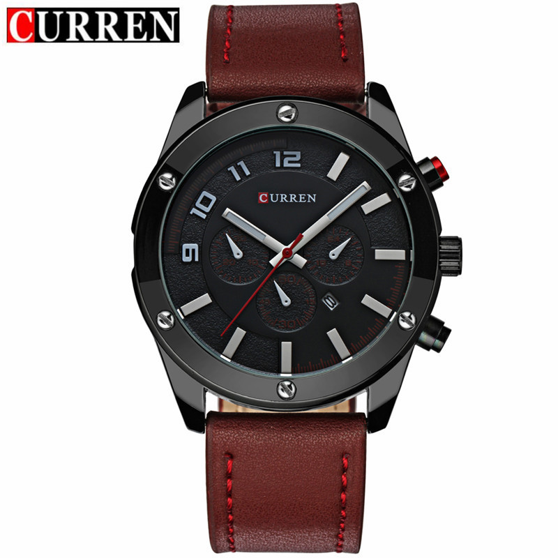 CURREN Casual Quartz Watch With Date Window Leather Strap Men Watch 8204