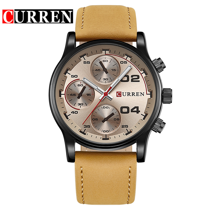 CURREN Casual Quartz Watch With Leather Strap Business Men Watch 8207