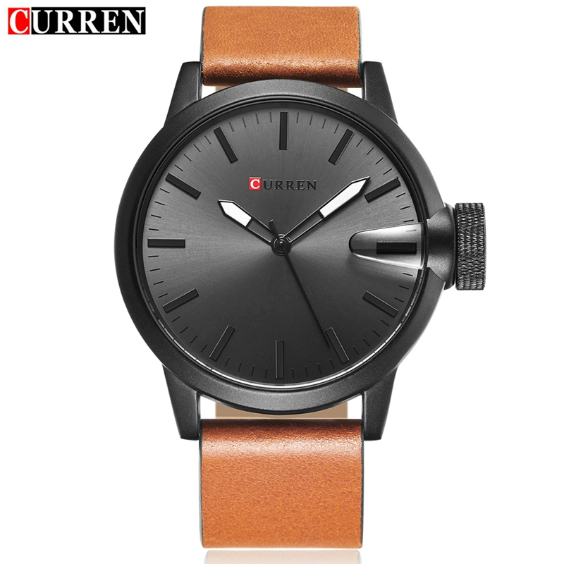 CURREN Casual Quartz Watch With Stick Markers Military Men Leather Watch 8208