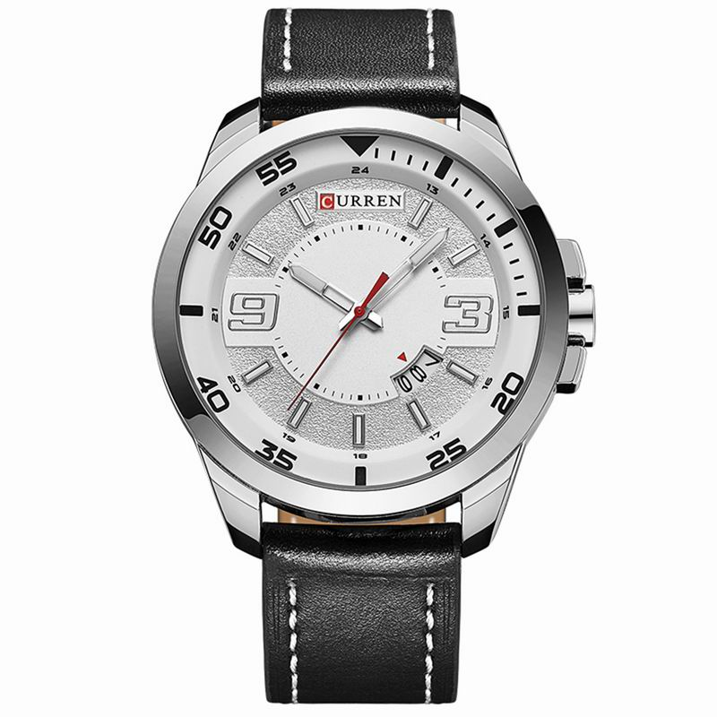 CURREN Quartz Watch With Date Leather Strap Casual Men Watch 8213