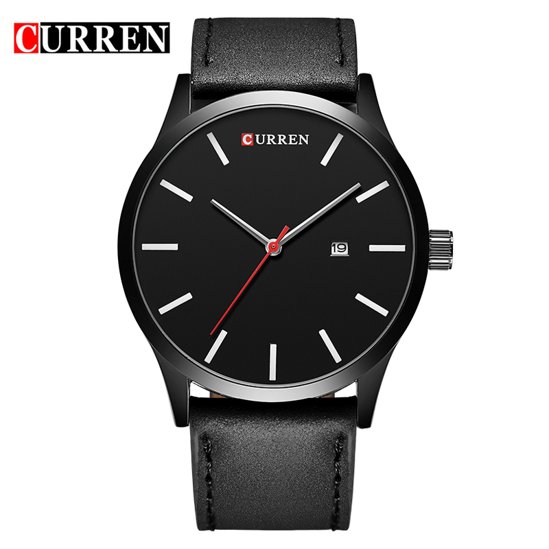 CURREN Quartz Round Watch With Date Stick Markers Casual Men Watch 8214
