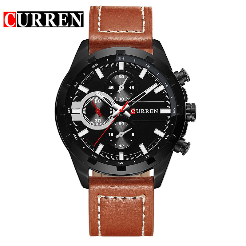 CURREN Quartz Watch With Analog Dial Leather Strap Casual Men Watch 8216
