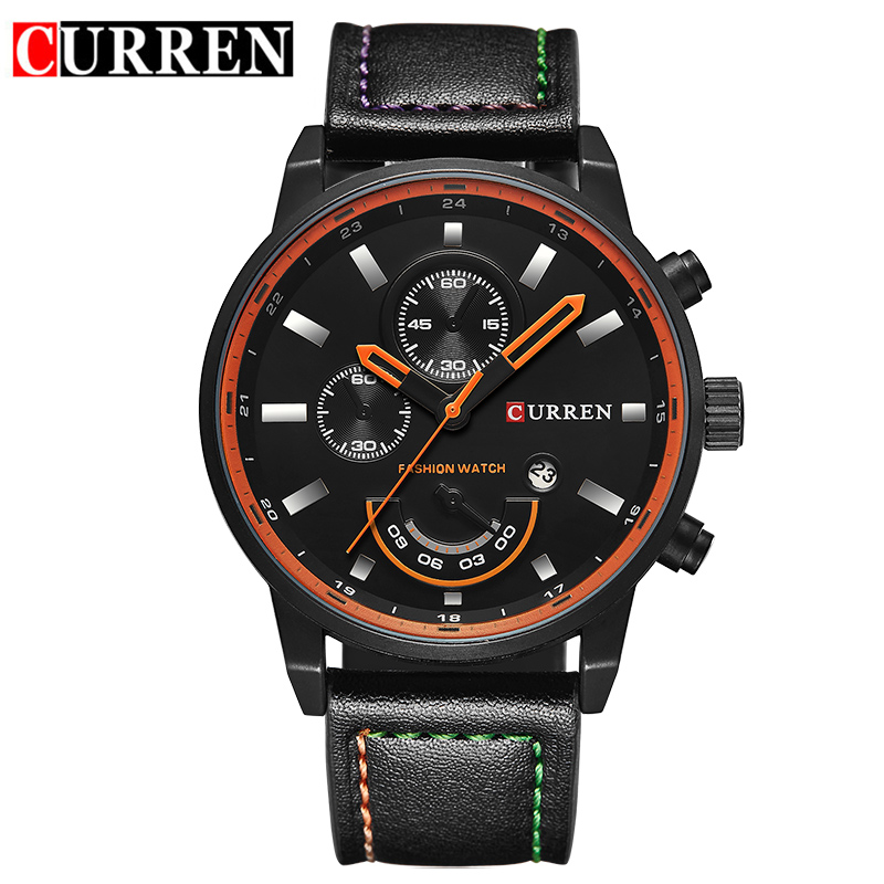 CURREN Quartz Watch With Stick Markers Date Leather Strap Casual Men Watch 8217