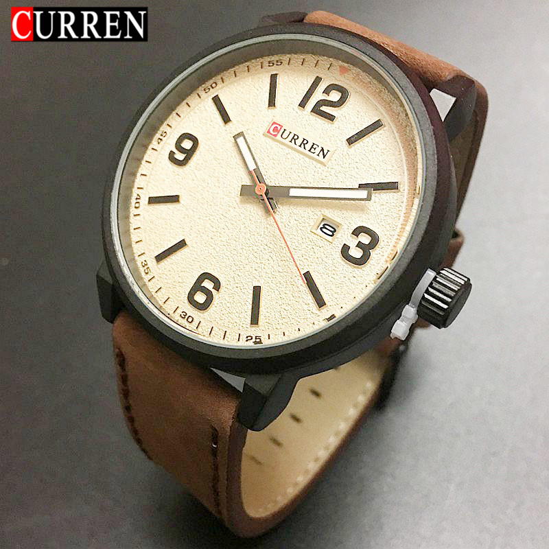CURREN Quartz Watch With Frosted Dial Date Leather Strap Casual Men Watch 8218