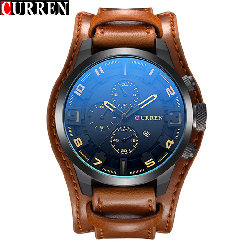 CURREN Casual Men Watch With Date Quartz Military Leather Watch 8225