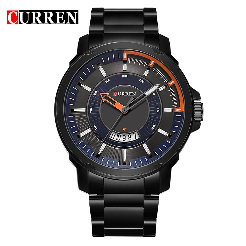 CURREN Business Quartz Watch With Stick Markers Date Steel Men Watch 8229