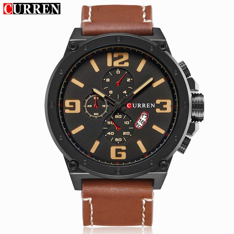 CURREN Casual Quartz Watch With Black PVD Case Date Leather Men Watch 8230