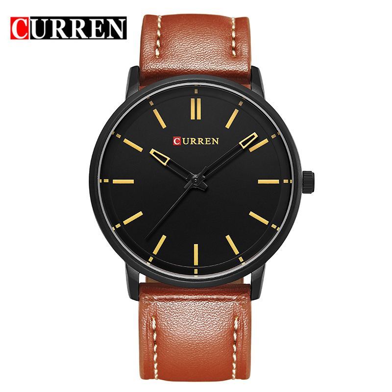 CURREN Casual Quartz Watch With Leather Strap Ultra-Thin Men Watch 8233L