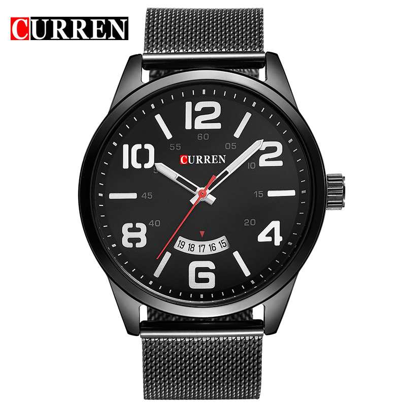 CURREN Business Quartz Watch With Date Steel Bracelet Men Watch 8236