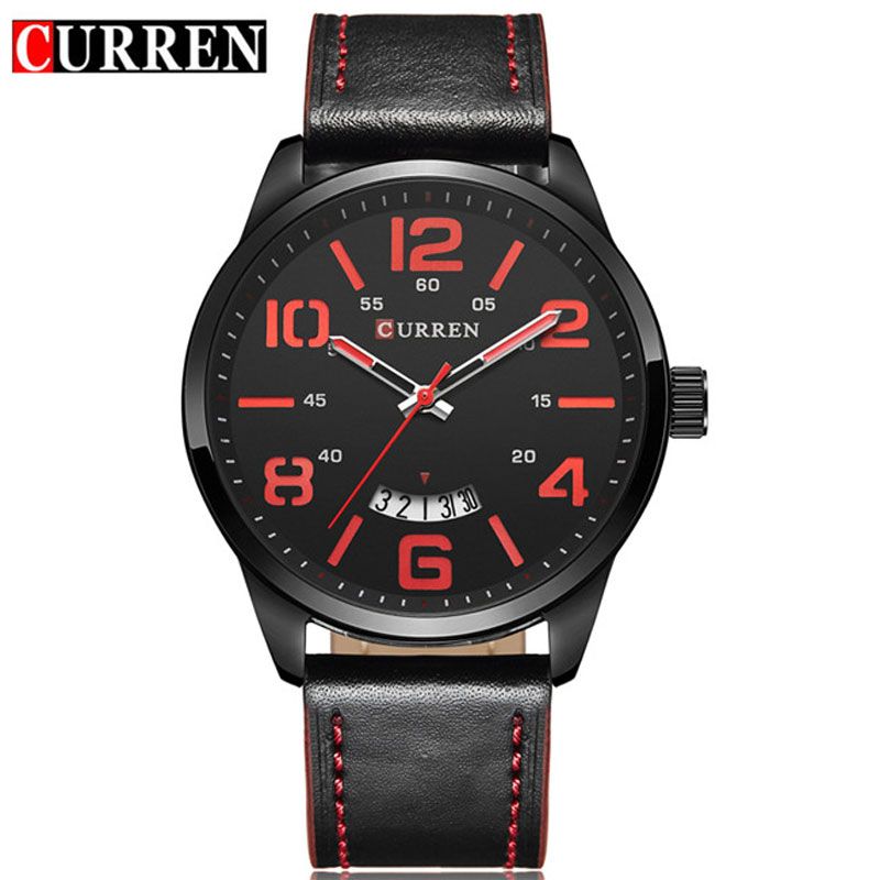 CURREN Business Quartz Watch With Date Leather Strap Men Watch 8236L