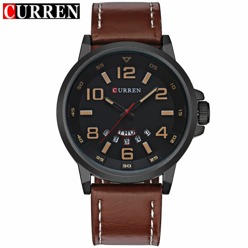 CURREN Business Quartz Watch With Day Date Black PVD Men Watch 8240