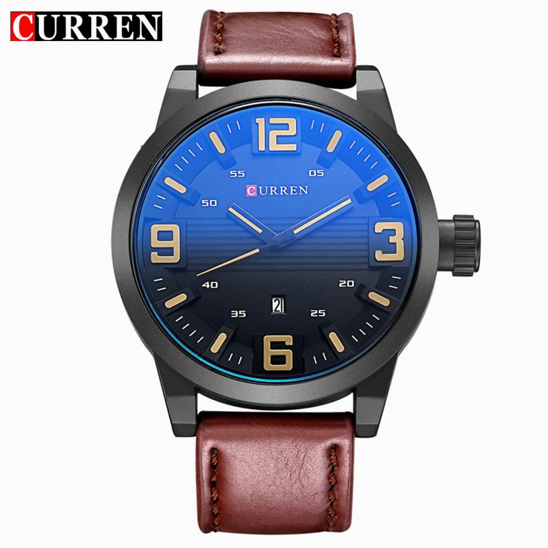 CURREN Casual Quartz Watch With Date Black PVD Case Men Watch 8241