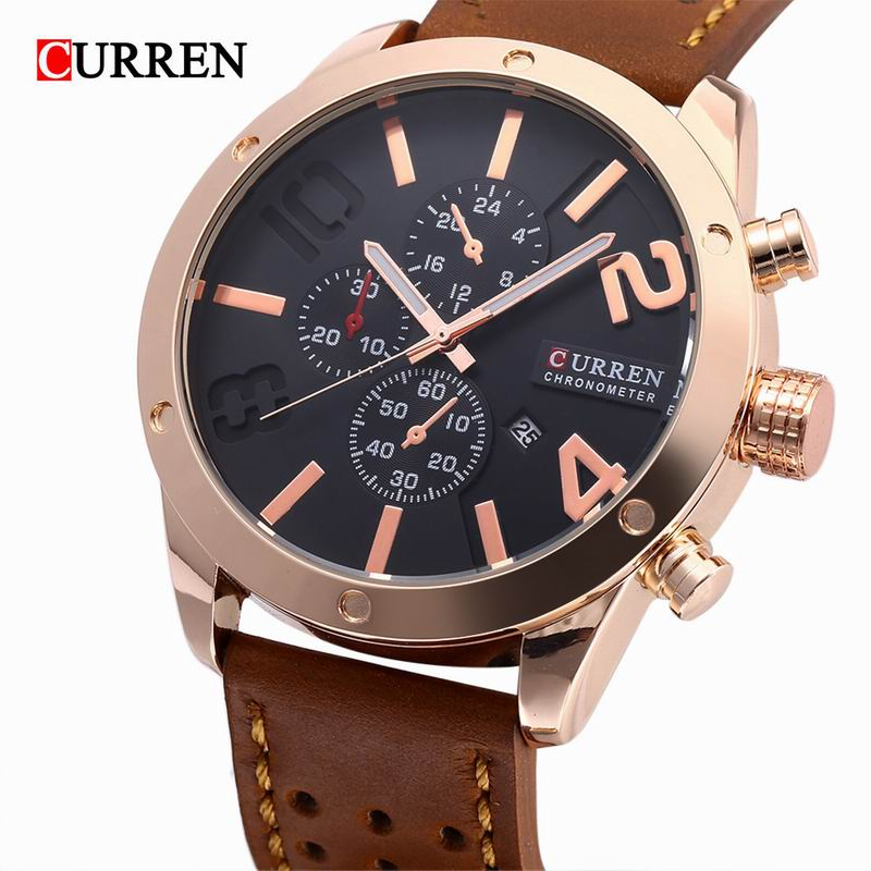 CURREN Casual Quartz Watch With Date Luminous Leather Strap Men Watch 8243