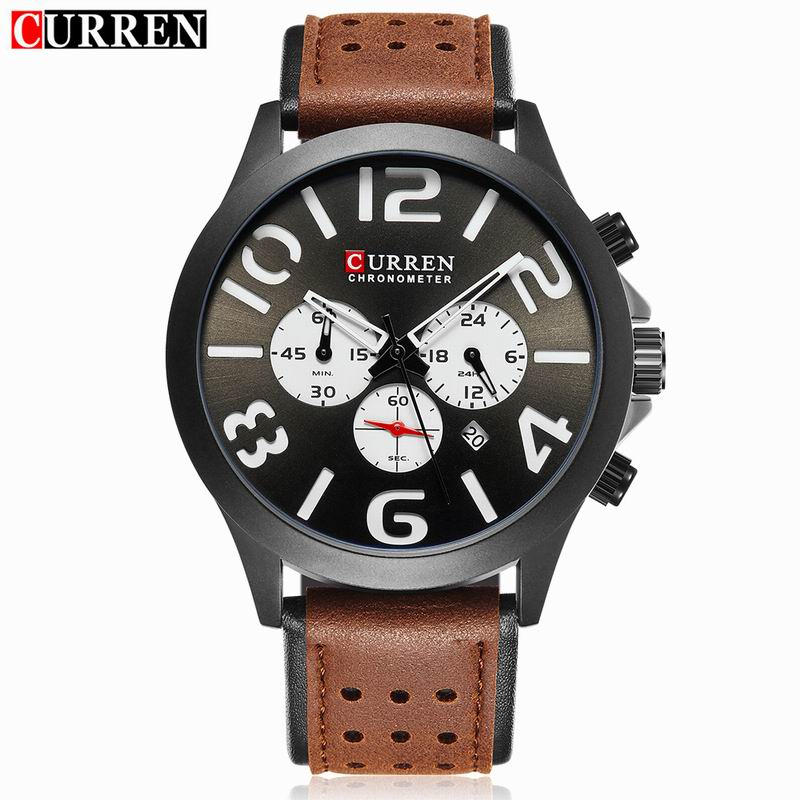 CURREN Casual Quartz Watch With PVD Case Date Chrono Men Watch 8244
