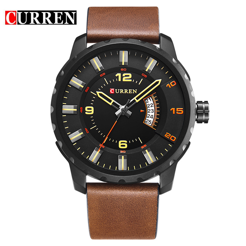 CURREN Casual Quartz Watch With Big Dial Date Leather Men Watch 8245