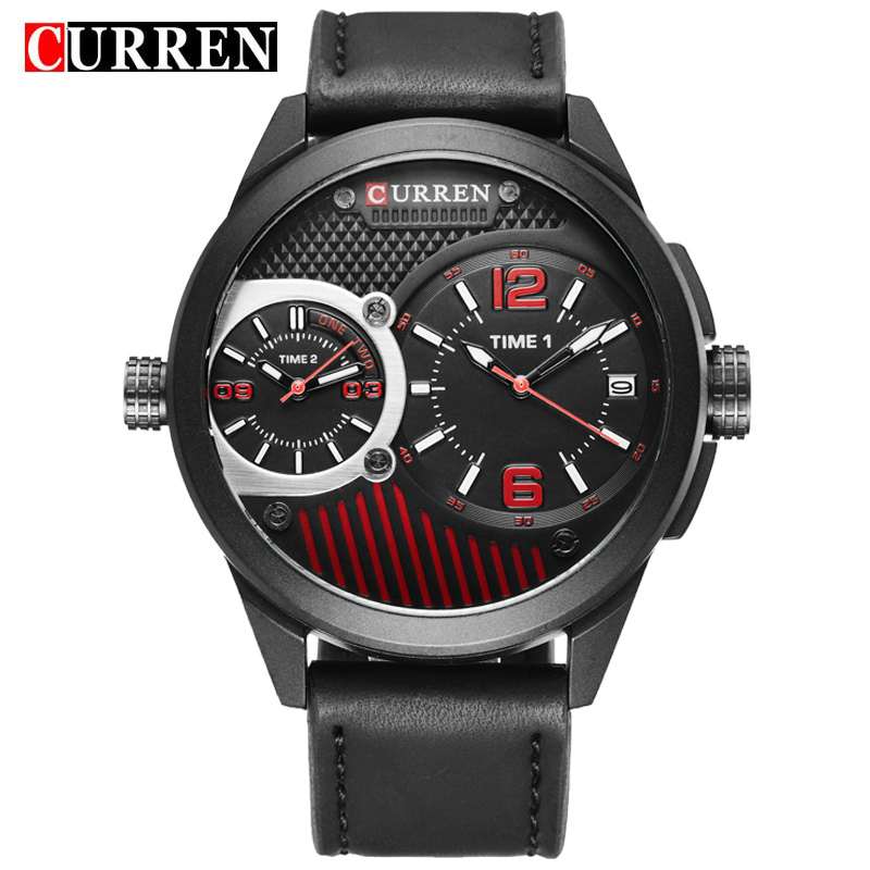 CURREN Men Watch With Quartz Date Double Movement Sport Watch 8249