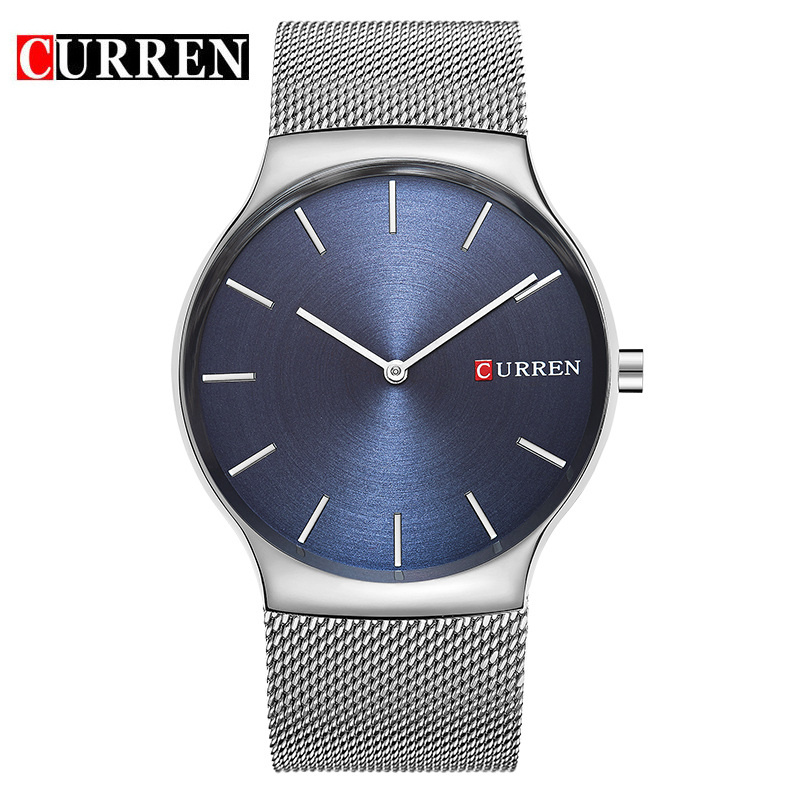 CURREN Men Watch With Stick Markers Ultra-Thin Casual Quartz Watch 8256