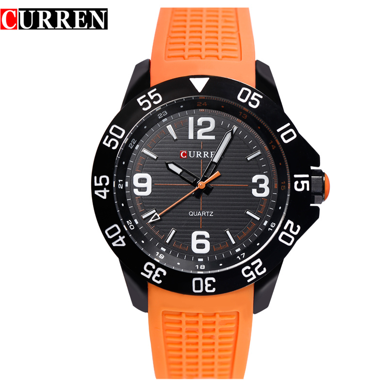 CURREN Fashion Men Watch With Rubber Strap Sport Quartz Watch 8181