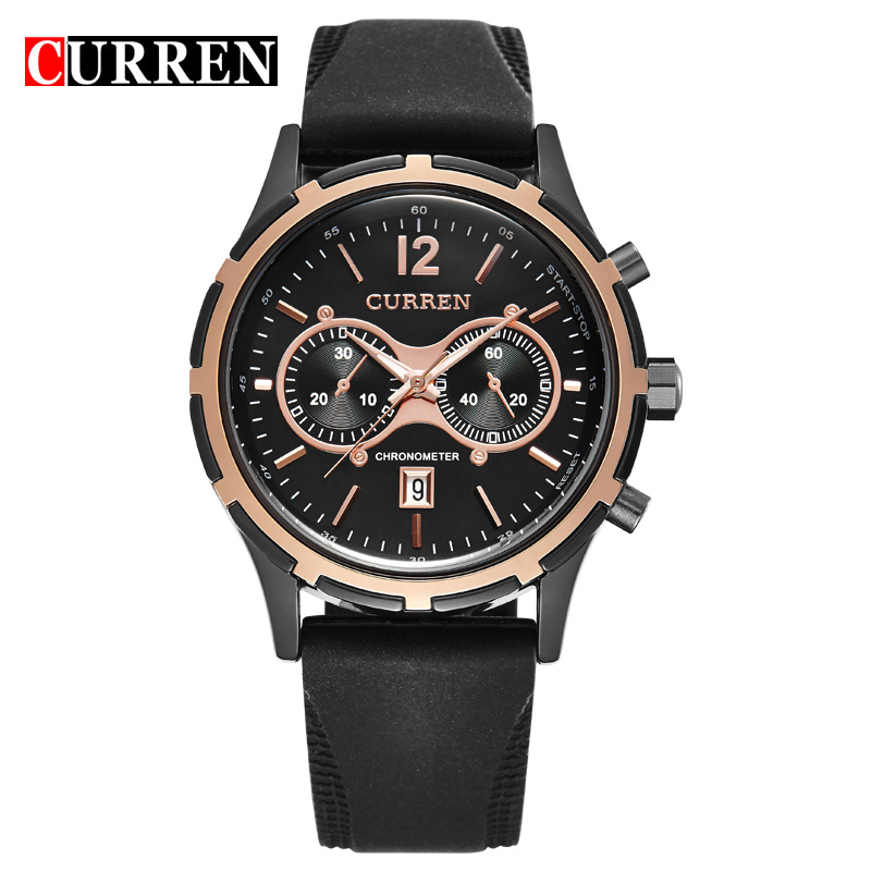 CURREN Casual Watch With Date Rubber Strap Quartz Men Watch 8066