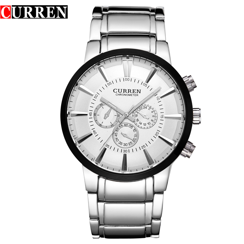 CURREN Casual Quartz Watch With Stick Markers Full Steel Men Watch 8001A