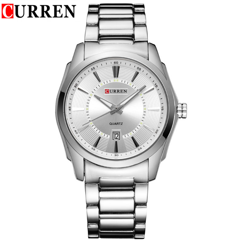 CURREN Business Quartz Watch With Stick Markers Full Steel Date Men Watch 8072