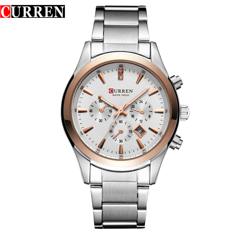 CURREN Business Watch With Stick Markers Date Full Steel Quartz Men Watch 8085