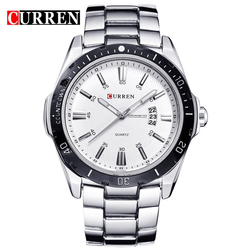 CURREN Business Men Watch With Stick Markers Black Bezel Date Quartz Watch 8110