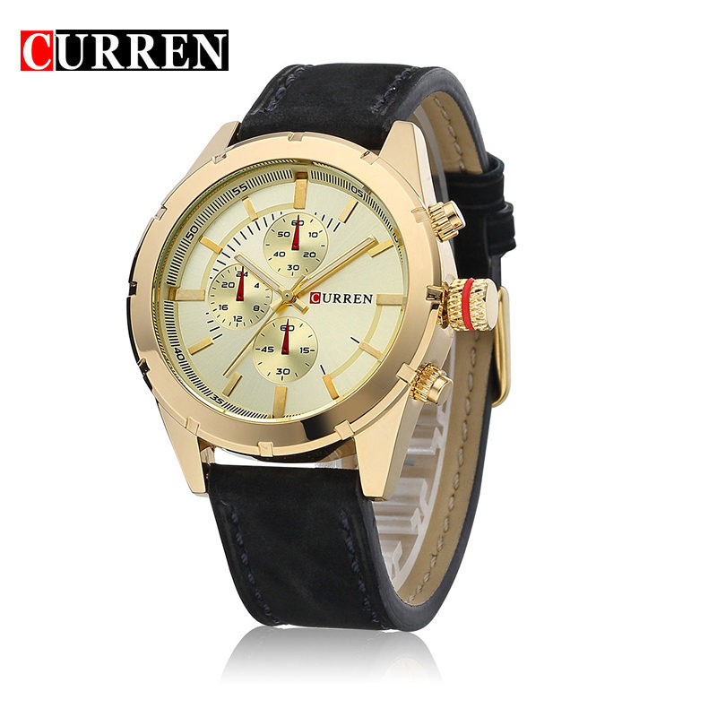 CURREN Casual Watch With Stick Markers Leather Strap Quartz Men Watch 8154