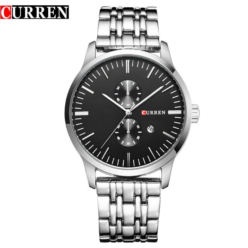 CURREN Casual Watch With Full Steel Stick Markers Date Men Quartz Watch 8133