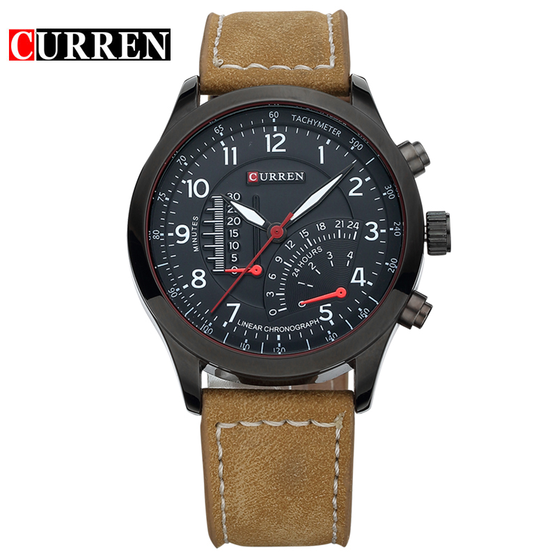 CURREN Men Watch With Quartz Leather Strap Casual Watch 8152