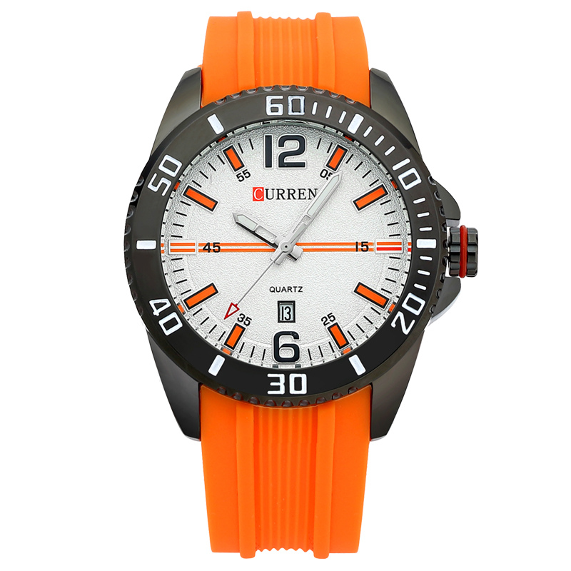 CURREN Men Watch With Quartz Date Rubber Strap Sport Watch 8178